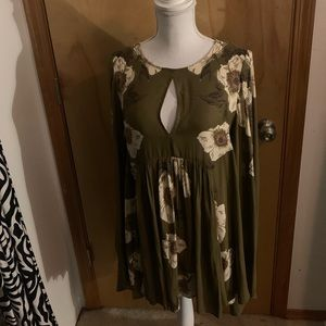 Free People Green Floral Tunic Womens XS